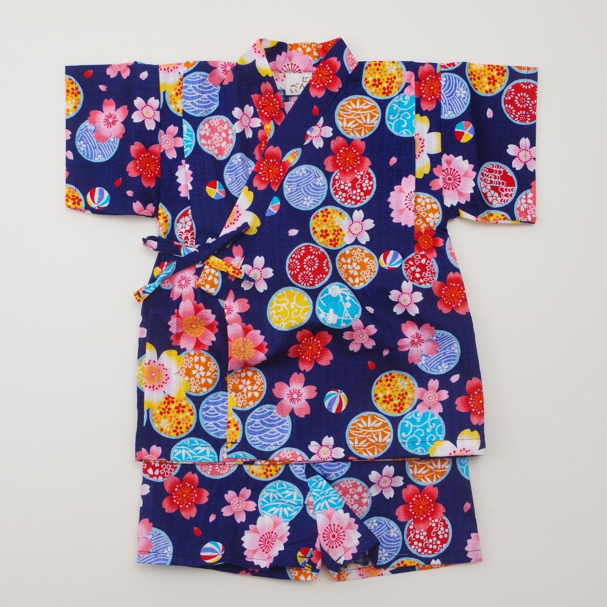 日本製 甚平スーツ 女の子 花 ネイビー  90/95cm (920971)