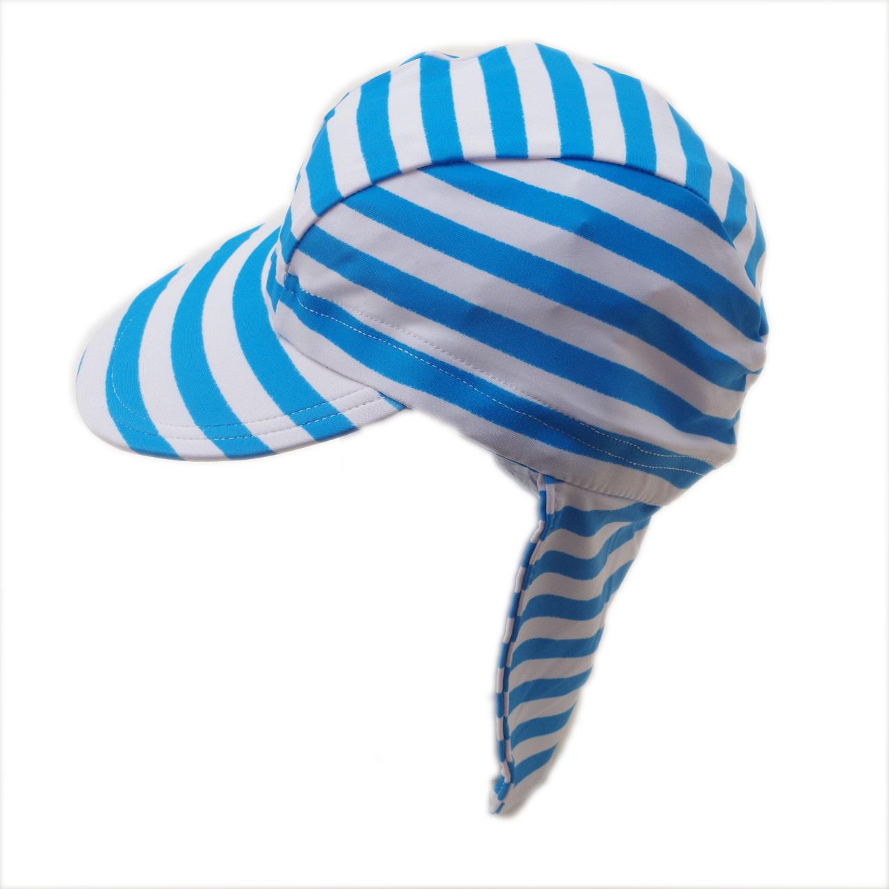 日よけ つば 付き スイムキャップ  水泳帽 ボーダー (CAT-19-BB)
