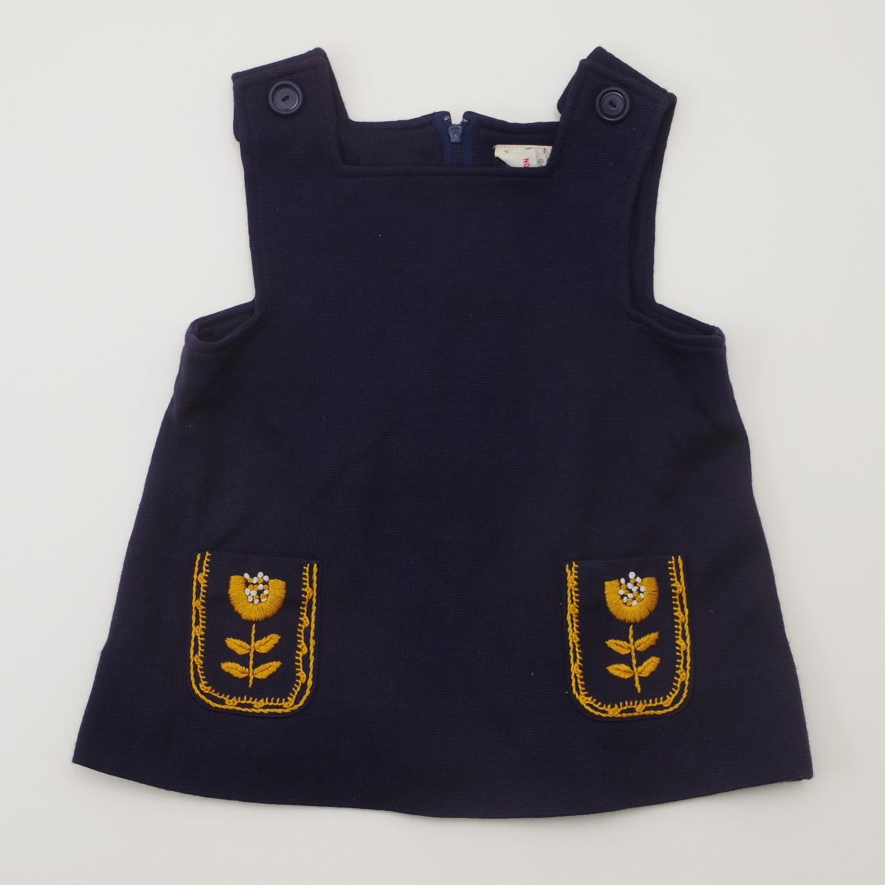 レトロ チャイルド 刺繍つき ジャンパースカート 1-2才用 ネイビー (1905-3218)