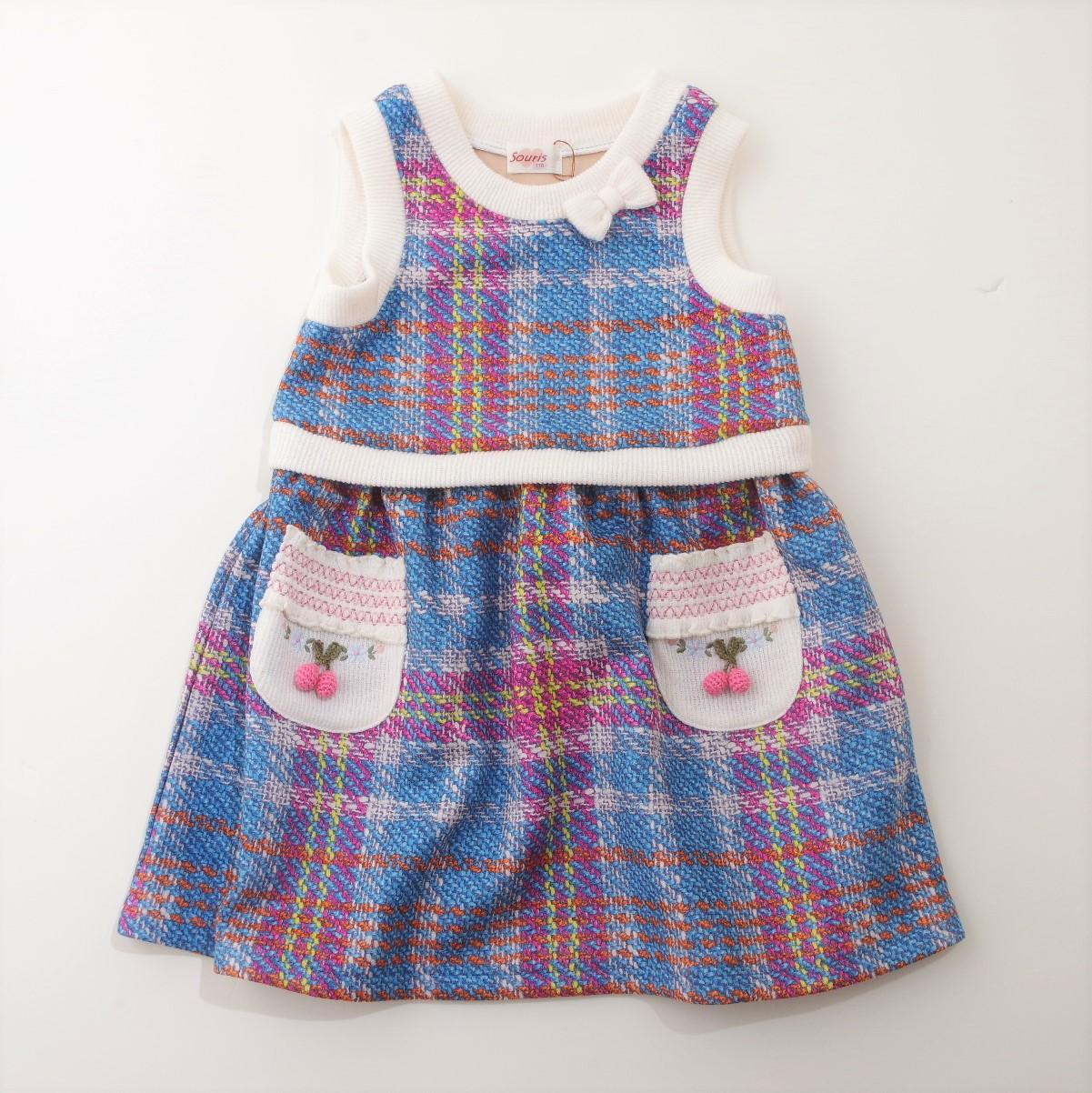 Souris(スーリー) 格子プリントジャンパースカート 90-140cm (195577-295577-BU)