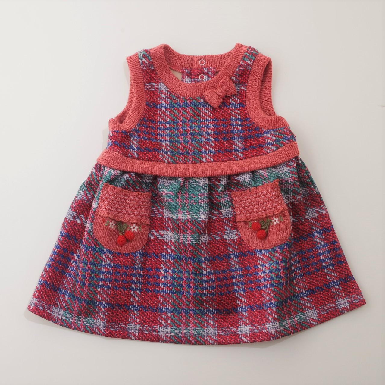 Souris(スーリー) 格子プリントジャンパースカート 90-140cm (195577-295577-RD)