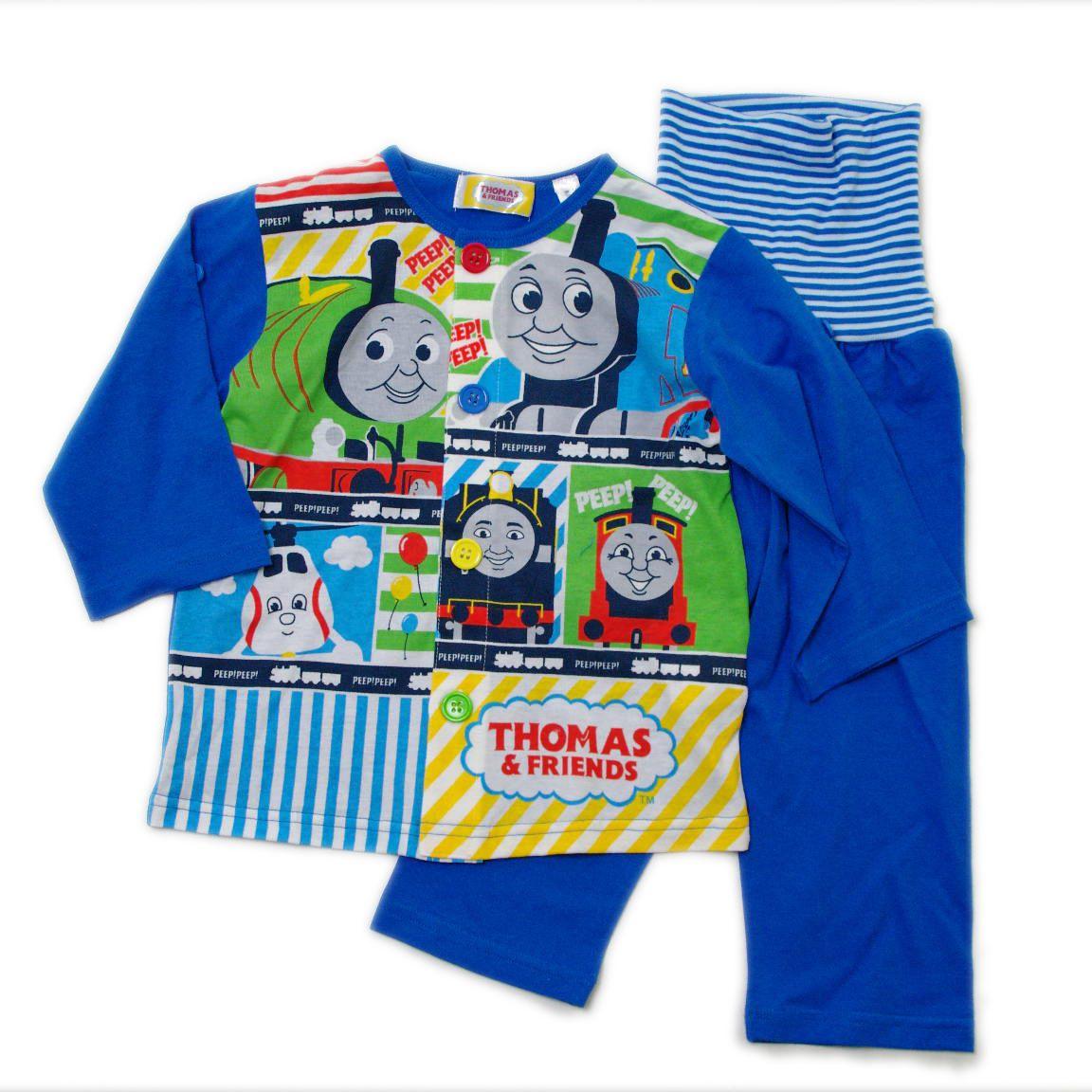きかんしゃトーマス 長袖ロールアップ腹巻付 パジャマ 90cm/95cm (T7305)