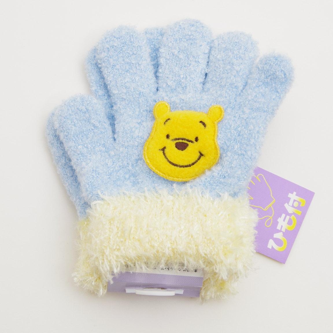 日本製 Disney(ディズニー) プーさん ひも付き手袋 のびのび五指タイプ 13cm 日本製 (J151101-5)