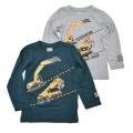 ショベルカー 長袖Tシャツ 100cm-130cm (7002-A)