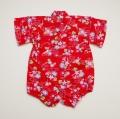 日本製 甚平ロンパース カバーオール 朝顔 赤色女の子 80cm (420958)