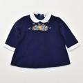 レトロ おとぎの国  刺繍付き ワンピース 紺 2-3才 (1910-0344)