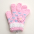 日本製  のびのび五指手袋 キッズ/ジュニア 15cm ピンク花  (1610-1720)