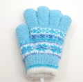 日本製  のびのび五指手袋 キッズ/ジュニア 16cm サックス二重  (1610-1773)