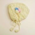 日本製 可愛いニット帽子 手編み イエローボンボリ フリーサイズ (1611-2316)