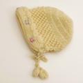 日本製 可愛いニット帽子 手編み お花刺繍イエロー フリーサイズ (1611-2325)