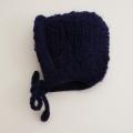 日本製 可愛いニット帽子 手編み ネイビー フリーサイズ (1611-2334)