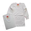 日本製 男児 長袖 白地 U首シャツ 2枚組 肌着 100cm-130cm  (K-AT5310)