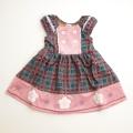 Souris(スーリー) チェックフラワージャンバースカート 100cm-140cm(276506)