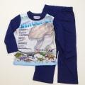 ダイナソー(恐竜)Tシャツ生地の長袖パジャマ 100cm-130cm(832DN108113)
