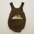 レトロ ピヨのロンパス モスグリーン 刺繍付き 2号( 90cm)(1803-9828)