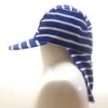 日よけ つば 付き スイムキャップ キッズ  水泳帽 ボーダー (CAT-1016-BN)