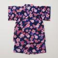 日本製 甚平スーツ 女の子 花ネイビー  90/95cm (920956)