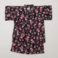 日本製 甚平スーツ 女の子 花 ブラック  90/95cm (920926)