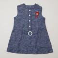 レトロ 刺繍つき ジャンパースカート 7才用 ネイビー (1905-3215)