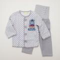 きかんしゃトーマス ロールアップ式 前ボタン 腹巻付き長袖パジャマ 80cm (87304-03)