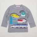 でんたま(新幹線) 長袖Tシャツ 100cm-130cm(943DT4011-GY)