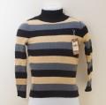 レトロ チャイルド ボーダー柄 リブ ニットセーター ブラック 110cm (1909-3916