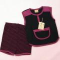 ヘンケルのTシャツスーツ L黒紫(PG94046)
