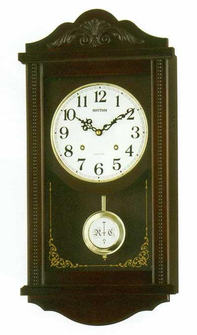 木枠の柱時計 リズム RHYTHM アタッシュマンR 壁掛け時計 4MJA01RH06 文字入れ対応、有料 取り寄せ品