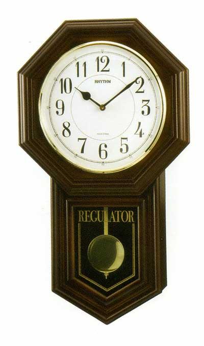 木枠の柱時計 リズム RHYTHM ベングラーR 壁掛け時計 4MJA03RH06 文字入れ対応《有料》 取り寄せ品