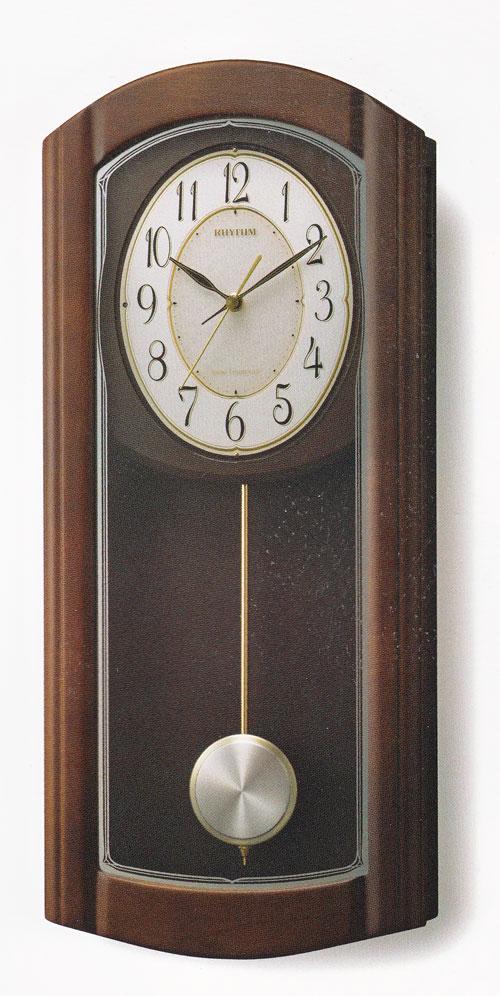 メロディ 振り子 柱時計 電波時計 リズム RHYTHM 壁掛け時計 4MN475HG06 文字入れ対応、有料 取り寄せ品