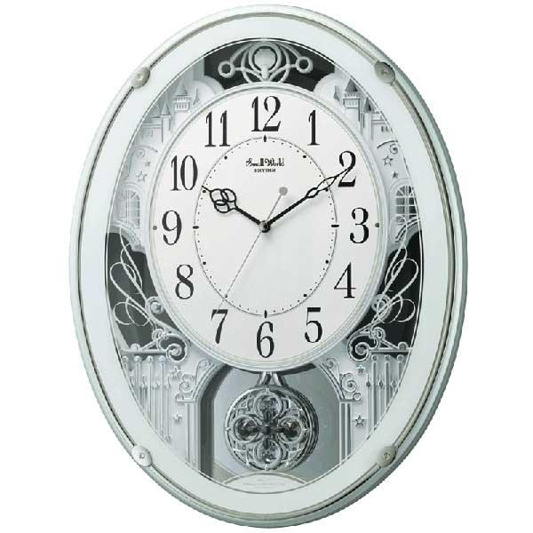 メロディ電波時計 壁掛け時計 スモールワールドプラウド 4MN523RH05 掛時計 リズム時計 文字入れ対応、有料