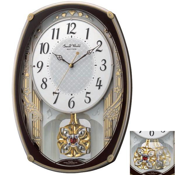 メロディ電波時計 壁掛け時計 4MN540RH06 スモールワールドレジーナ 掛時計 リズム時計 文字入れ対応、有料 取り寄せ品