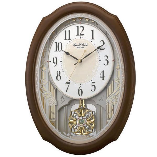 メロディ電波時計 壁掛け時計 4MN541RH06 スモールワールドセレブレ 掛時計 リズム時計 文字入れ対応、有料 取り寄せ品