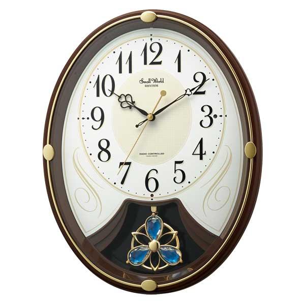 メロディ 電波時計 壁掛け時計 スモールワールドリリィN 4MN554RH06 掛時計 リズム RHYTHM 文字入れ対応、有料