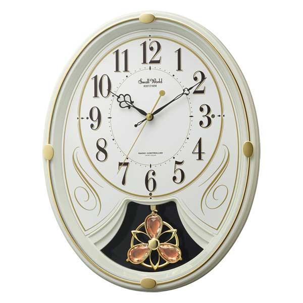 メロディ 電波時計 壁掛け時計 スモールワールドリリィN 4MN554RH10 掛時計 リズム RHYTHM 文字入れ対応、有料 取り寄せ品