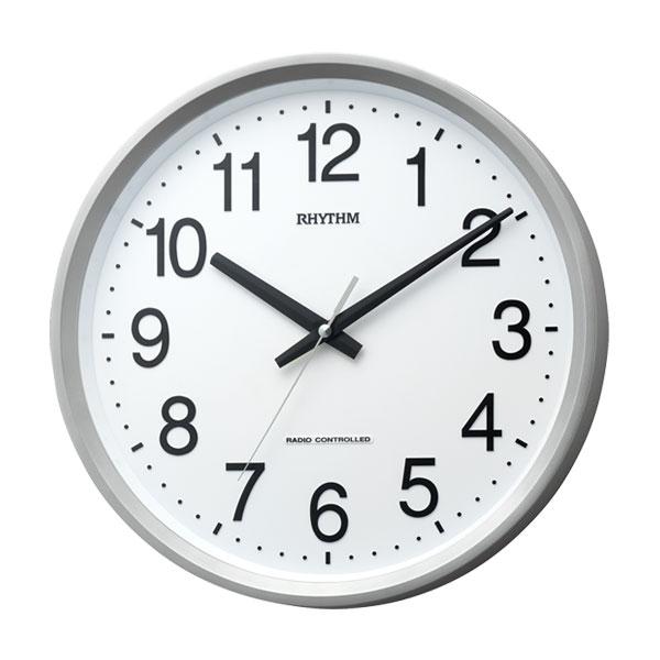 リズム RHYTHM 壁掛け時計 電波時計 4MYA24SR19 ステップ秒針 ガラス面のみ文字入れ対応、有料 取り寄せ品