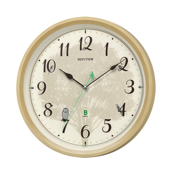 メロディ電波時計 四季の野鳥 報時 鳥のさえずり 鳥の鳴き声 壁掛け時計 8MN409SR06 掛時計 リズム時計 文字入れ対応、有料 取り寄せ品