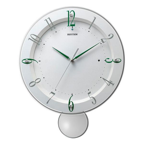 振り子付時計 壁掛け時計 電波時計 8MX408SR03 リズム RHYTHM ガラス面のみ文字書き対応、有料 取り寄せ品
