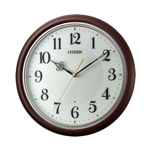 暗くなると秒針 音のしない 壁掛け時計 シチズン 電波時計 CITIZEN 8MY560-006 文字入れ対応、有料