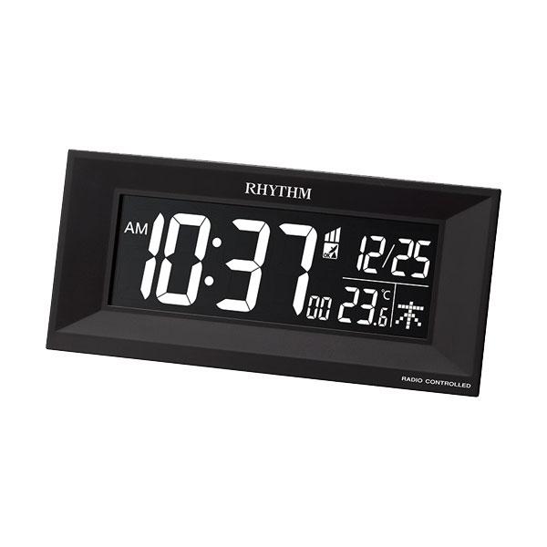 リズム時計 電波時計 家庭用コンセント使用 デジタル 電子音 目覚時計 8RZ196SR02 文字入れ対応、有料 ZAIKO