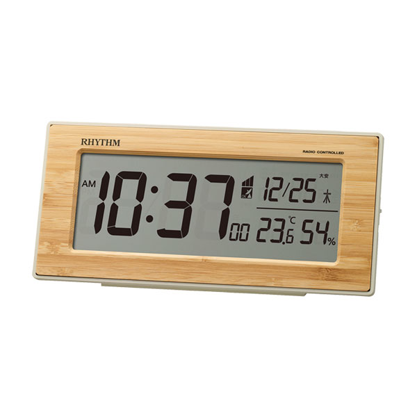 デジタル 電波目覚まし時計 リズム時計 電波時計 RHYTHM 8RZ212SR06 フィットウェーブバンブーD212 取り寄せ品