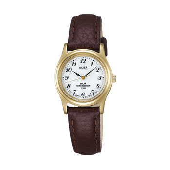 ALBA アルバ ソーラー 腕時計 革バンド AEGD544 女性用 名入れ刻印対応、有料
