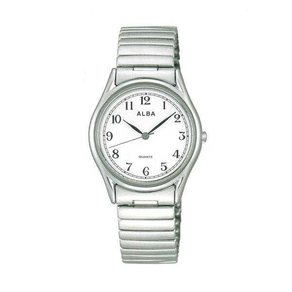 ALBA アルバ 伸縮バンド腕時計 男性用 AQGK439 電池式時計 蛇腹バンド じゃばら 伸び縮み 名入れ刻印可能、有料