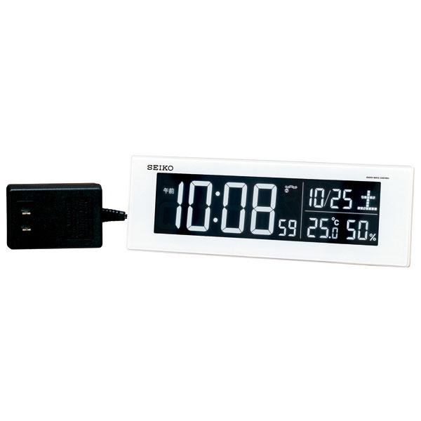 セイコー SEIKO AC100V 交流式 デジタル 電波時計 目覚まし時計 電子音 アラーム DL305W 名入れ対応、有料