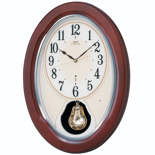 壁掛け時計 セイコー SEIKO メロディ 電波時計 エンブレム EMBLEM HS445B 文字入れ対応、有料 取り寄せ品