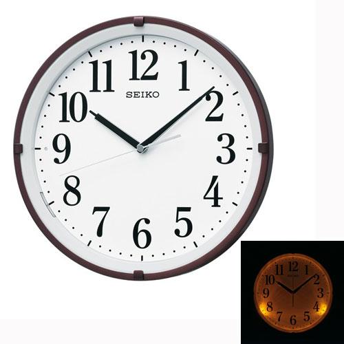 暗くなるとライトが点灯する壁掛け時計 電波時計 掛時計 KX205B セイコー SEIKO 文字入れ対応、有料 取り寄せ品