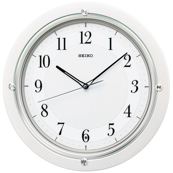 暗くなると秒針を止め 音がしない 壁掛け時計 KX217W 電波時計 掛時計 セイコー SEIKO 文字入れ対応、有料