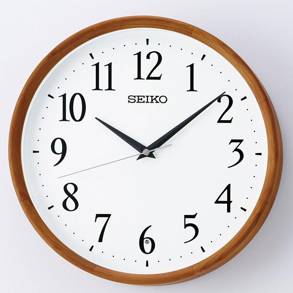 セイコー SEIKO 暗くなると秒針を止め 音がしない 壁掛け時計 茶木地 KX264B 電波時計 文字入れ対応、有料 取り寄せ品