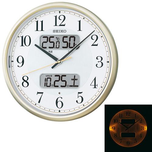 暗くなるとライトが点灯する壁掛け時計 温度・湿度・デジタルカレンダー 電波時計 掛時計 KX384S セイコー SEIKO 文字入れ不可 取り寄せ品