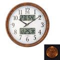 壁掛け時計 ライト付 温湿度計 カレンダー付 電波時計 4FY617SR23  文字入れ対応、有料 取り寄せ品
